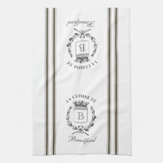 Brown Vintage Style French Sack With Custom Name Kitchen Towel at Zazzle