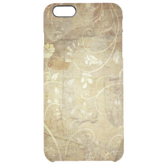 brown vintage swirl flowers and lines clear iPhone 6 plus case