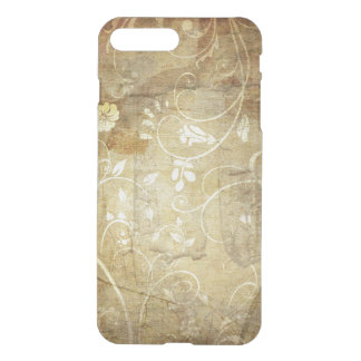 brown vintage swirl flowers and lines iPhone 7 plus case