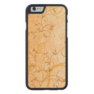 brown vintage swirl leaves art carved® maple iPhone 6 slim case