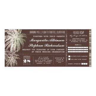 brown vintage ticket destination wedding invite