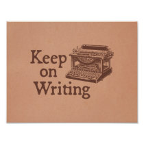 Brown Vintage Typewriter Keep on Writing Poster