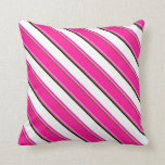 [ Thumbnail: Brown, Violet, Deep Pink, White & Black Lines Throw Pillow ]
