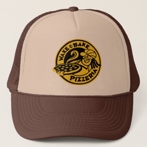 Brown Wake  Bake Custom Logo Trucker Hat