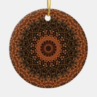 "Brown ""Walk in the Woods"" Mandala Kaleidoscope Double-Sided Ceramic Round Christmas Ornament"