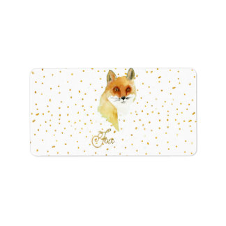 Brown watercolor fox gold faux glitter dots label