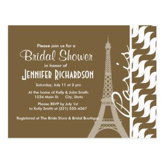 Brown Wave; Eiffel Tower Postcard