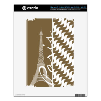 Brown Wave; Eiffel Tower Decal For The NOOK