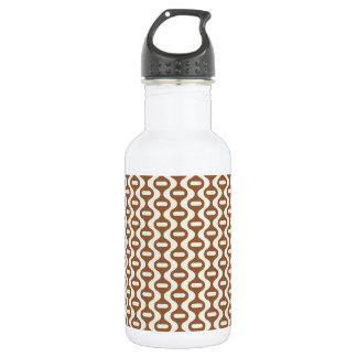 Brown Wavy Retro Pattern Water Bottle