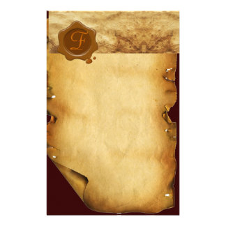 BROWN WAX SEAL PARCHMENT Monogram Stationery
