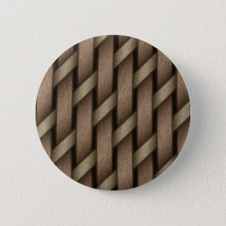 Brown weave from basket  textile pinback button