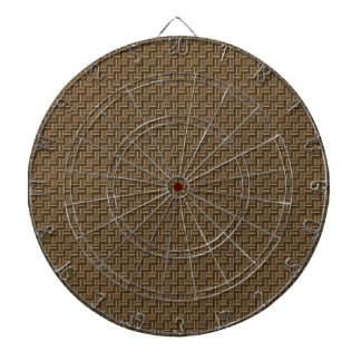 Brown Weave Pattern Dartboard With Darts