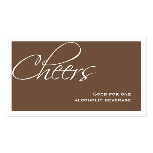 Brown wedding formal custom event drink ticket business card templates