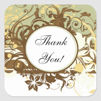 Brown Wedding Matching Stickers, Thank You! Square Sticker