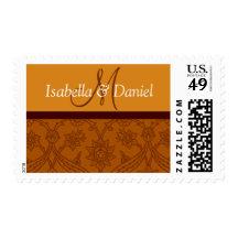 Brown Wedding Monogram envelope postage stamps