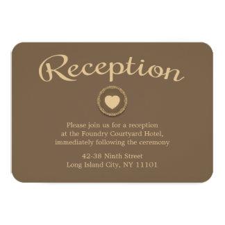 Brown Wedding Reception Heart Floral Seal Card