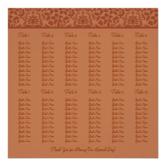 Brown Wedding Reception Seating Chart - Square Print