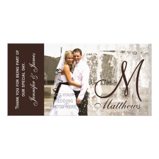Brown Wedding Thank You Photo Cards Template