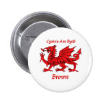 Brown Welsh Dragon CAB Button