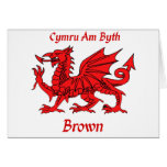 Brown Welsh Dragon CAB Greeting Card
