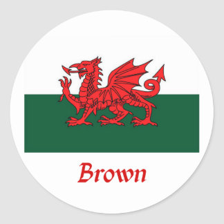 Brown Welsh Flag Stickers