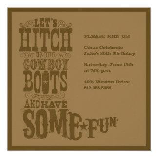 Brown Western Cowboy Boot Invitation