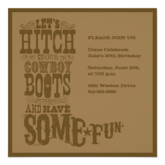 "Brown Western Cowboy Boot Invitation 5.25"" Square Invitation Card"