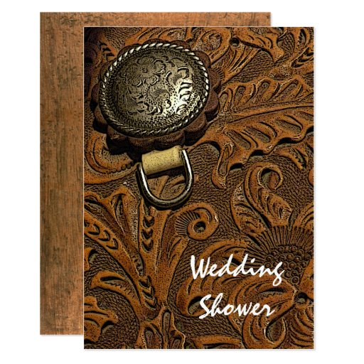Brown Western Horse Saddle Couples Wedding Shower Card