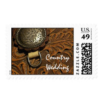 Brown Western Saddle Country Wedding Postage