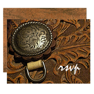 Brown Western Saddle Country Wedding RSVP Card