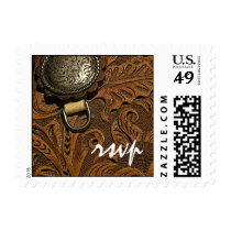 Brown Western Saddle Country Wedding RSVP Postage