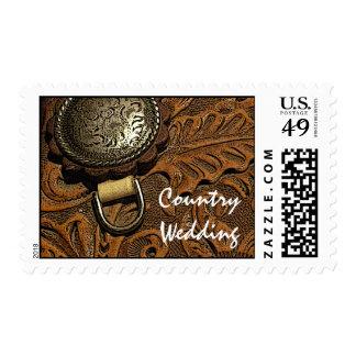 Brown Western Saddle Country Wedding Stamp