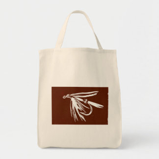 """""""Brown Wet Fly"""" Trout Wet Fly Grocery Tote"""