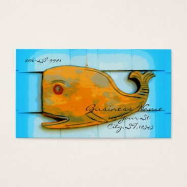 Beach Themed brown whale laughing business card