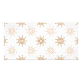 Brown Wheel Cogs. Fractal Circles Pattern. Customized Photo Card