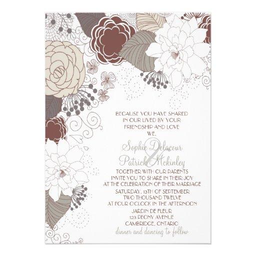Brown Whimsical Autumn Flowers Wedding Invitations 5 X 7 Invitation Card