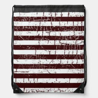 brown & white aged stripes drawstring backpack