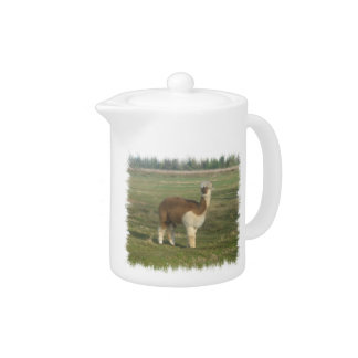 Brown & White Alpaca Teapot