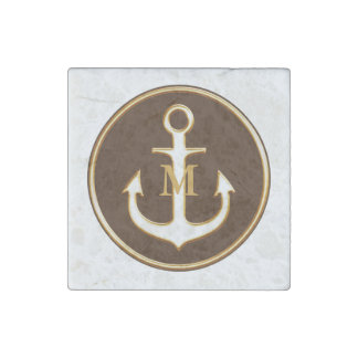 Brown White Anchor Monogrammed Stone Magnet