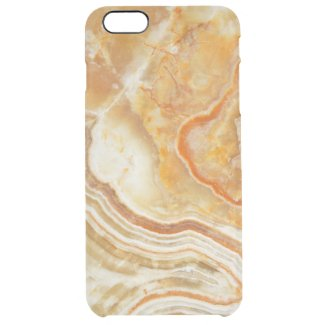 Brown White And Beige Marble Pattern Print Uncommon Clearly™ Deflector iPhone 6 Plus Case