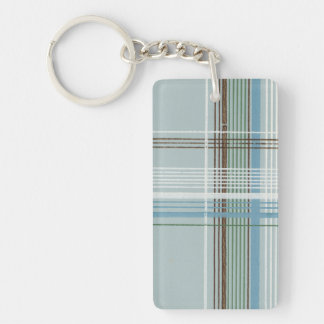 Brown White and Light Blue Plaid Keychain
