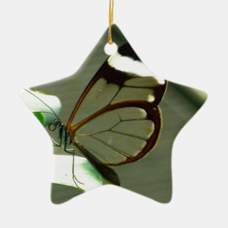 Brown White and Translucent Winged Butterfly Ceramic Ornament
