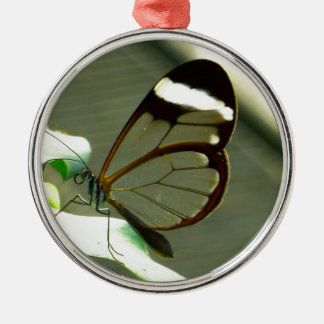 Brown White and Translucent Winged Butterfly Metal Ornament
