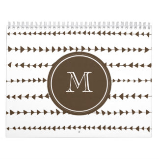 Brown White Aztec Arrows Monogram Calendars