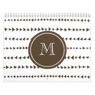 Brown White Aztec Arrows Monogram Calendar