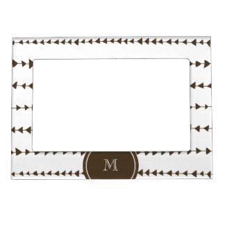 Brown White Aztec Arrows Monogram Magnetic Photo Frame