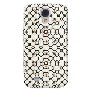 Brown White Black Geometric Circuitry Dots Squares Samsung S4 Case