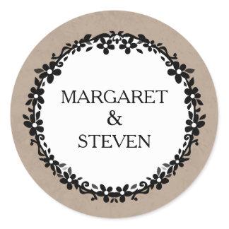 Brown White & Black Wedding Floral Border Names Classic Round Sticker