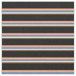 [ Thumbnail: Brown, White, Blue, Light Salmon & Black Stripes Fabric ]