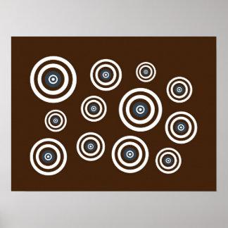 Brown, white & blue retro circles poster
